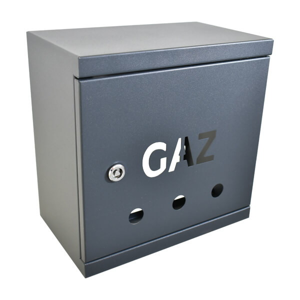 Skrzynka gazowa 250x250x150 stal ocynkowana malowana proszkowo gr 0,8 na zawór Gaz grafit all1