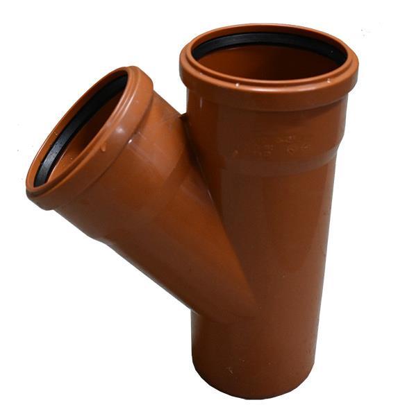 Trójnik kanalizacyjny zewnętrzny PVC 160 mm / 160 mm / 45 st.